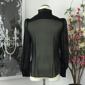 ALICE by Temperley Tops - ALICE by Temperley Sheer SIlk Ruffle Gothic Blouse